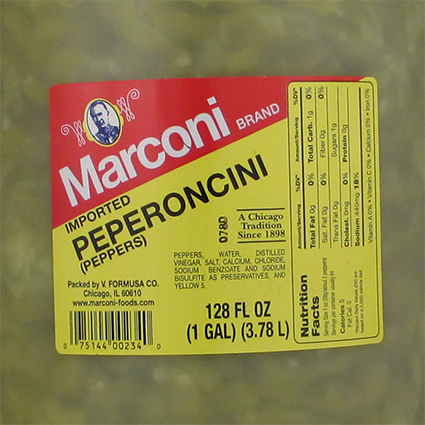 MARCONI SLICED GREEK PEPPEROCINI - BULK
