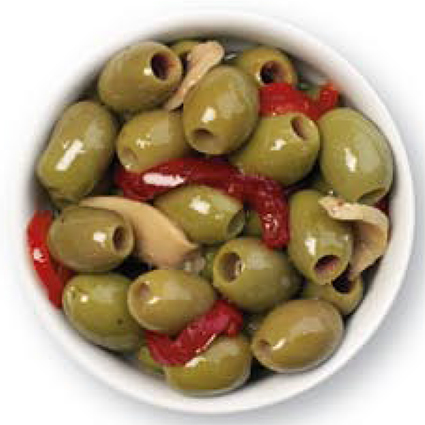 CINQUINA GREEN PITTED AND MARINATED OLIVES - BULK