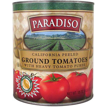 PARADISO COARSE GROUND PEELED PLUM TOMATOES IN HEAVY JUICE