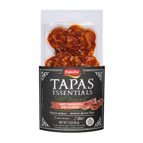 espuna tapas hot chorizo sliced